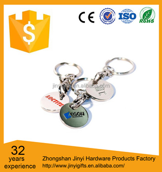 Custom size color filled metal trolley coin keychain