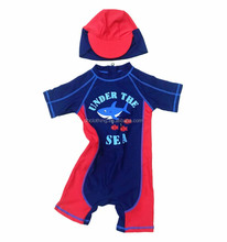 [Rainbow Island] baby children boy swimwear beachwear swim suit with swimming caps sun protection surfing wetsuit