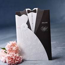 Wholesale arabic invitations wedding,elegant embossed bride and groom wedding invitations