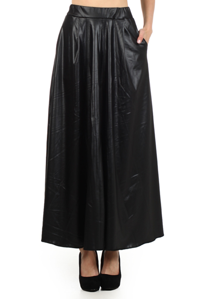 Faux Leather Maxi Skirt