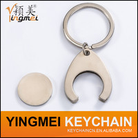 New arrival Coin design key chain trolley coin keyring metal key chain with custom logo
