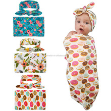 Wholesale high quality soft cotton doughnut wrap Muslin baby swaddle blankets with headband in set