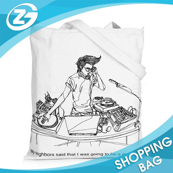 Promotional Logo Printed Eco Friendly Reusable Shopping Cotton Tote Bag
