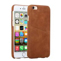 Factory Wholesale Phone Accessory Real Leather Case Cover with Card Slot for iPhone 6 7 8 Plus