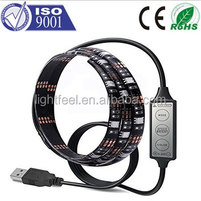 2016 5050 new portable usb controlled led strip light with mini power bank color changing led solar rope light