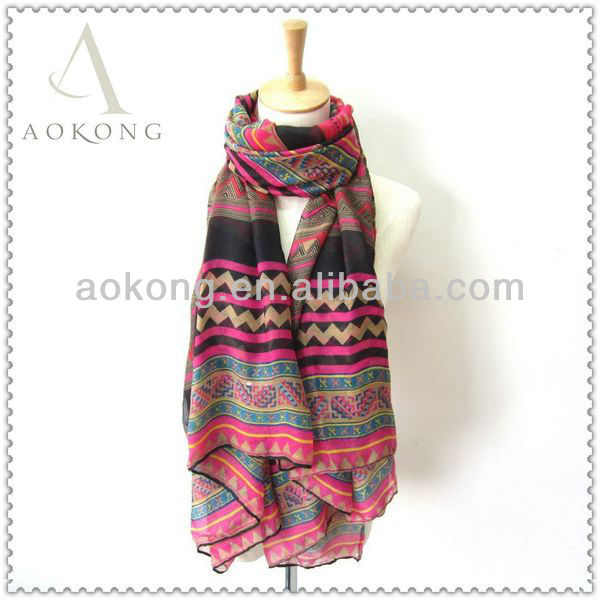 2014 new printing promotional polyester ladies aztec tribal scarf