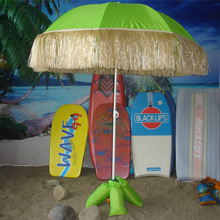 Metal Frame Hawaii Beach Umbrella With Straw Lace