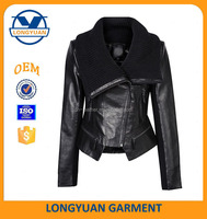 high quality cheap women fashion elegant winter leather jacket coat and high crited guarantee