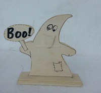 wooden handcarved holiday decoration and craft Haibao the mascot display for halloween with word boo
