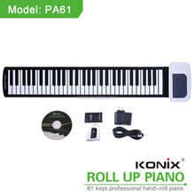 Educational piano toys and handy roll up piano with 61keys, music box midi sustain pedal for keyboards