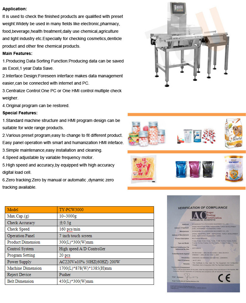 automatic weighing and packaging machine with CE