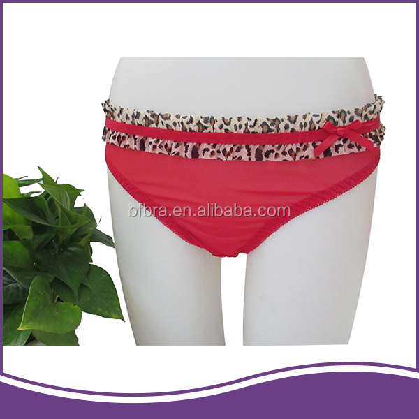 Cost effective mesh red leopard print fabric wholesale ladies panties g-string