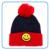 Wholesale customized lovely smile face 3pcs children crochet winter beainie hats knitted with scarf gloves sets