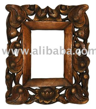 Wooden Lotus Mirror Frame Decoration Furniture Wood Carving Thailand High Quality Handmade Antique Woodcraft