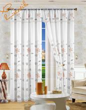 Factory hot sales double layer embroidered voile curtain