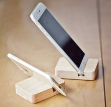 Universal natural wooden cell phone stand holder