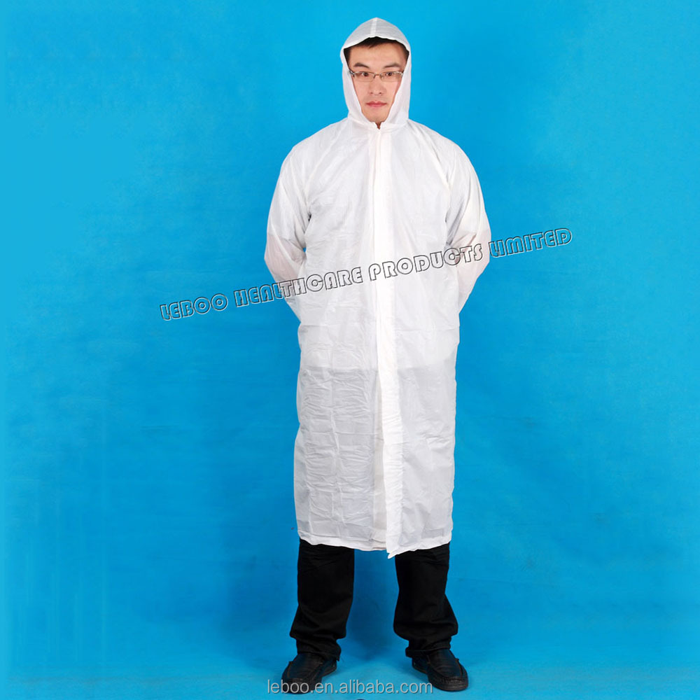 Disposable waterproof Rain Coat with Hoods and Sleeves with CE and ISO certificates