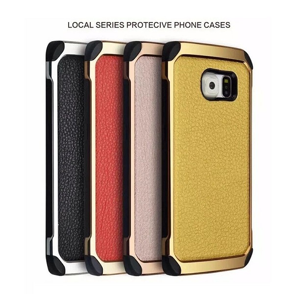 Leather-coated Electroplated Lichee Pattern 2 in 1 Detachable TPU+ PC Case for Samsung Galaxy S6 G9200