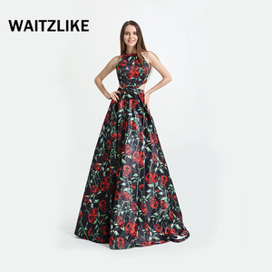 Long satin print floral front plus size sexy print prom dress