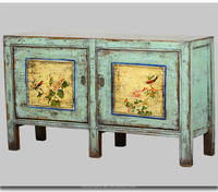 Asian Antiques Vintage Hand Painted Mongolia Cabinet