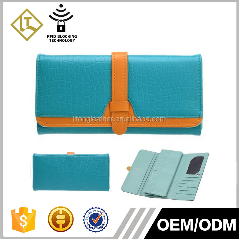 Factory Cusotm Genuine or PU Leather Wallet Ladies Clutch Purse