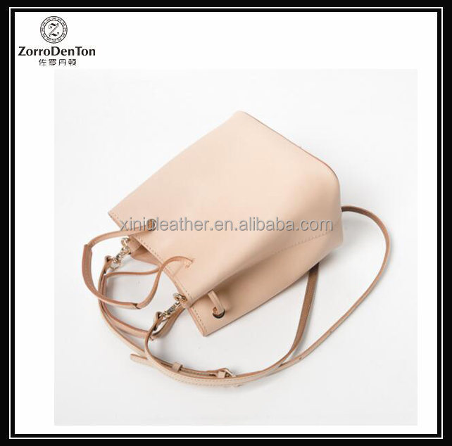 Vegetable tanned leather ladies bucket bag genuine leather tote bag for women