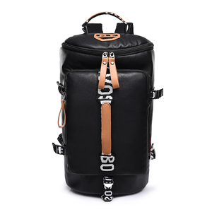 2019 new design PU leather Oxford waterproof bucket travel bag Laptop backpack with handle for men and women