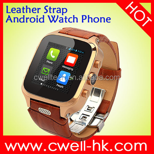 Android Watch Phone With Leather Strap and SMS Sync Function 1.54 Inch IPS Screen Single SIM Card