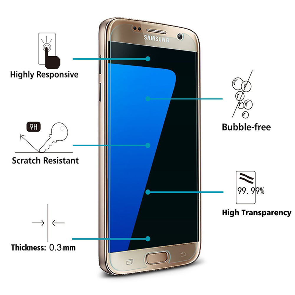 Cheapest mobile screen tempered glass 0.3mm membrane mobile tempered glass protective film for Samsung galaxy s7 s7 edge