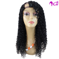 bohemian hair u part wig virgin curl human hair wig for black men