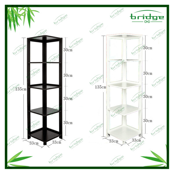 New design 5 tiers different color bamboo corner shelf