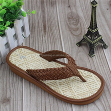 flip flop PU knit slipper make by straw mat lady sandal