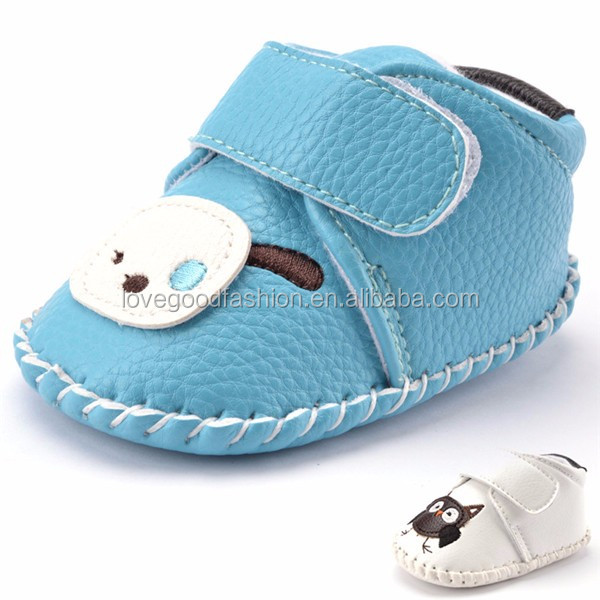 PU Leather Cute Baby Prewalker Owl Crib Shoes with Anti-slip Rubber Sole