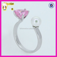 Fashion solid sterling silver pink heart cut cubic zircon Finger pearl Ring