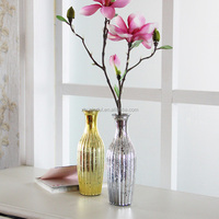 Silver gold colored mercury glass flower vase