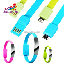2017 Wholesale popular usb cable phone charger bracelet, silicone usb bracelet for phone