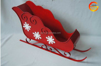 Hot sale red iron Christmas sleigh decor