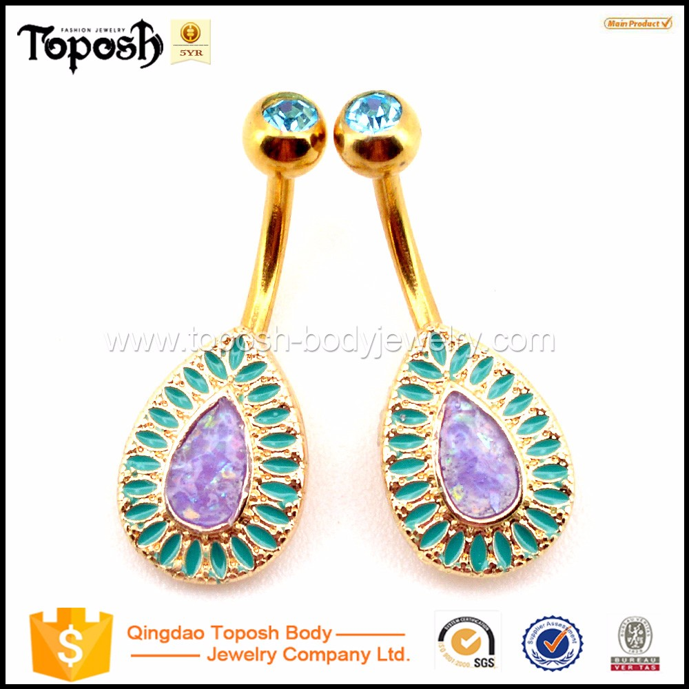 Toposhbodyjewelry Classic Turquoise Purple Opal Non Dangle Belly Rings Body Piercing Jewelry