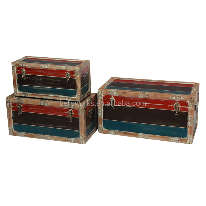 Colorful Coastal Series Antique Reproduction Trunk In Wooden,Set 3
