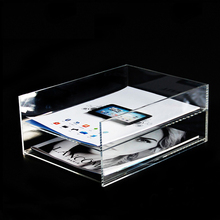 A4 clear acrylic double tier file holder plexiglass letter tray lucite paper tray