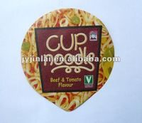 Noodles cups sealing lids with vivid printing and embossed