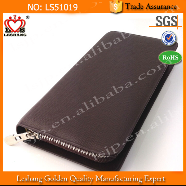 Best thin zippered handmade leather wallet for id card or money