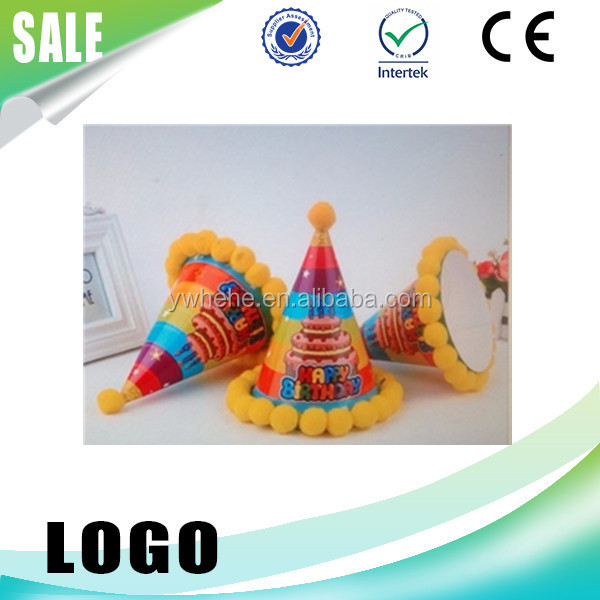 Hot Sale Crown Printed Plush Ball Paper Hat