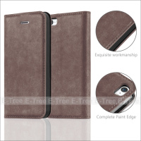 Lichee Strong Magnetic Wallet PU Leather Pc Hard Case For iPhone 5