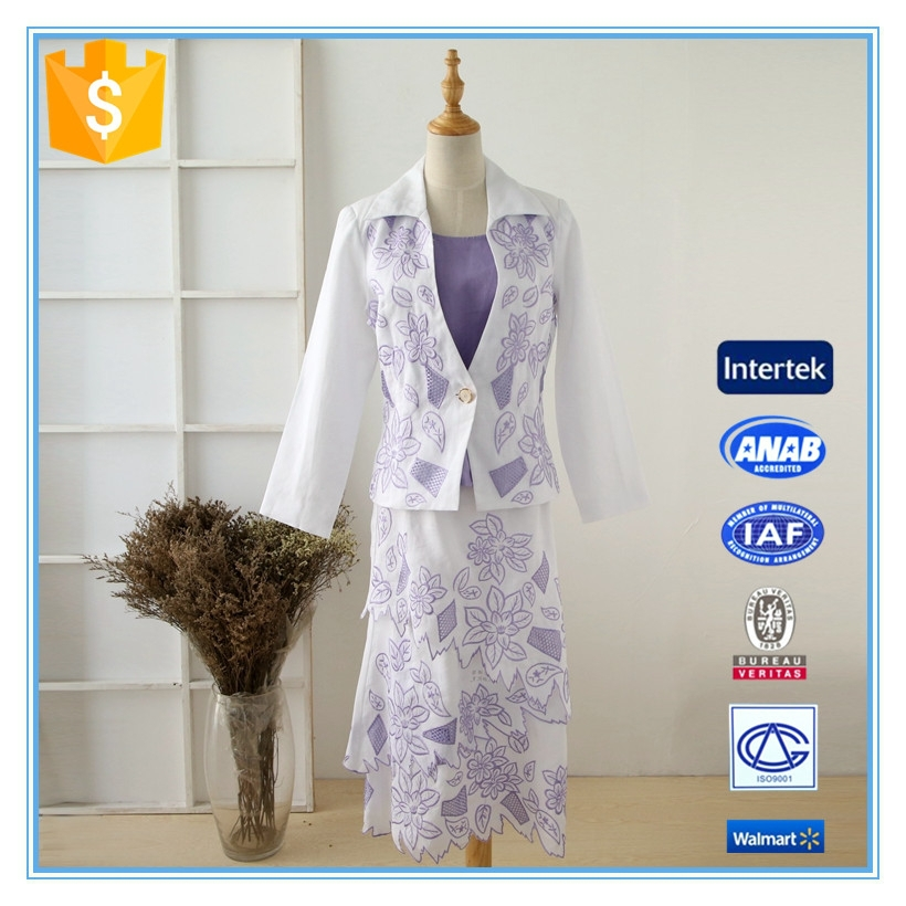 Latest 3 Pieces Embroidery Anti-static Business Suit For Women