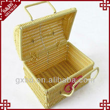 SD weaving plastic rattan gift basket wedding basket decorations white large capacity storage basket with lid