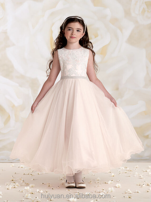 2 colors lace girl gown wedding smocked dresses for children