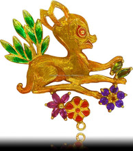 Gold Plated Enamel Silver Deer Pendent With Natural Gemstones Code no P-355