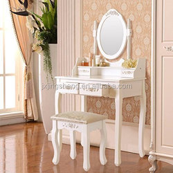 2017 New design luxurious bedroom solid wooden dressing table with drawers