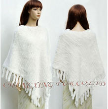 CX-B-55C Wholesale Elegance Knitted Real Rex Rabbit Fur Shawl / Poncho / Jacket / Coats